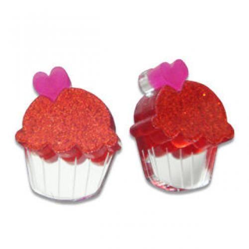 Sweet Glitter Red Mirror Cupcake Stud Earrings