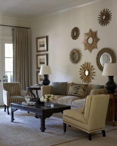 Light, Bright and Airy Master Bedroom Design Plan | Meadow Lake RoadMeadow Lake Road: Interior, Living Rooms, Livingrooms, Decor Ideas, Decorating Ideas, Sunburst Mirrors, Starburst Mirror, Design
