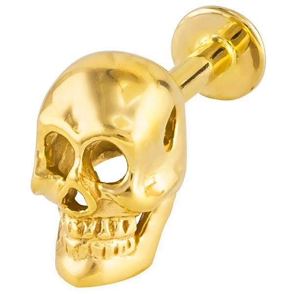 Gold Skull Labret Ring