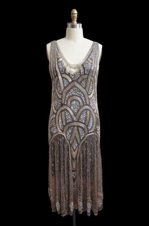 1920   Art Deco Rose Gold Bead and Sequin Flapper Dress