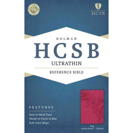 Holy Bible: Holman Christian Standard Bible Pink Leathertouch Ultrathin Reference Bible