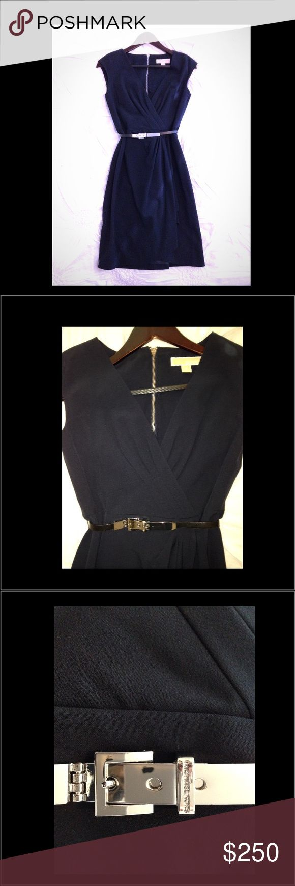 """MICHAEL Kors Navy Mock-Wrap Dress w/Black MK Belt MICHAEL Kors dark Navy Blue mock-wrap Dress, only worn once then organically dry cleaned. In mint condition. Size 2, length hits right at knee on 5'1"""" tall person. Fully lined, zips at back with silver MK detail hardware, black faux leather belt with silver MK detail hardware included. Kept in garment bag since purchased at MK Store located in Beverly Center, Los Angels. Additional photos and details available upon request.  Thank You Michael…"""