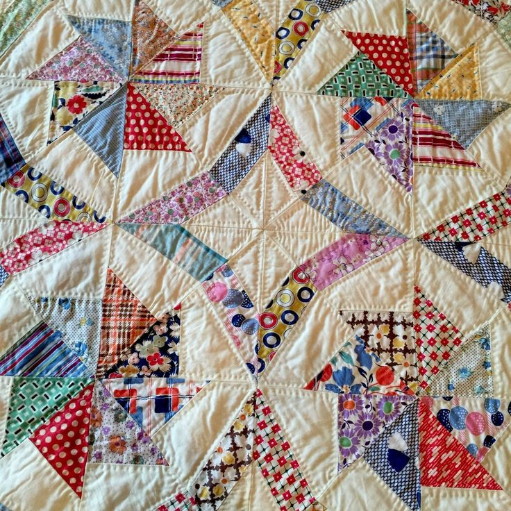 Vintage Multicolored Windmill Stars Repro 1930's Crisp Quilt MINT Dense Quilting in Collectibles, Linens & Textiles (1930-Now), Quilts   eBay