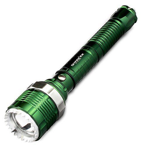 Skyfire 500 Lumens Rechargeable Led Flashlights Torch CREE Lamp Beads 3 Mode Zoomable Tactical Flashlight For Outdoor Camping Hiking Night-fishing Hunting a Lifesaving Hammer Self-defense