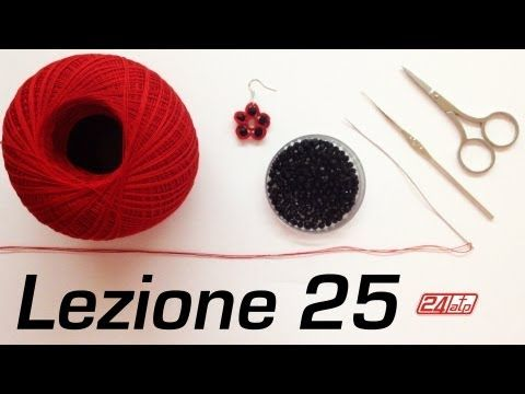 ▶ Chiacchierino Ad Ago - 23˚ Lezione Orecchino a Rombo Con Due Rombi Bijoux - Tutorial Needle Tatting - YouTube