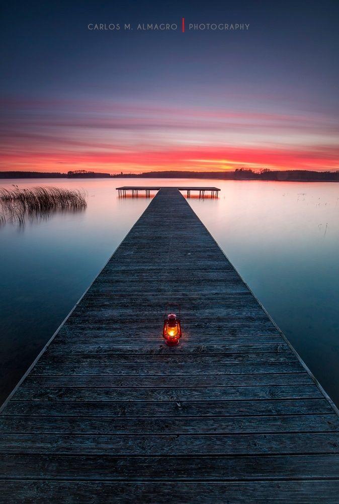 Calm down #sunset lake pier reflection beautiful nature