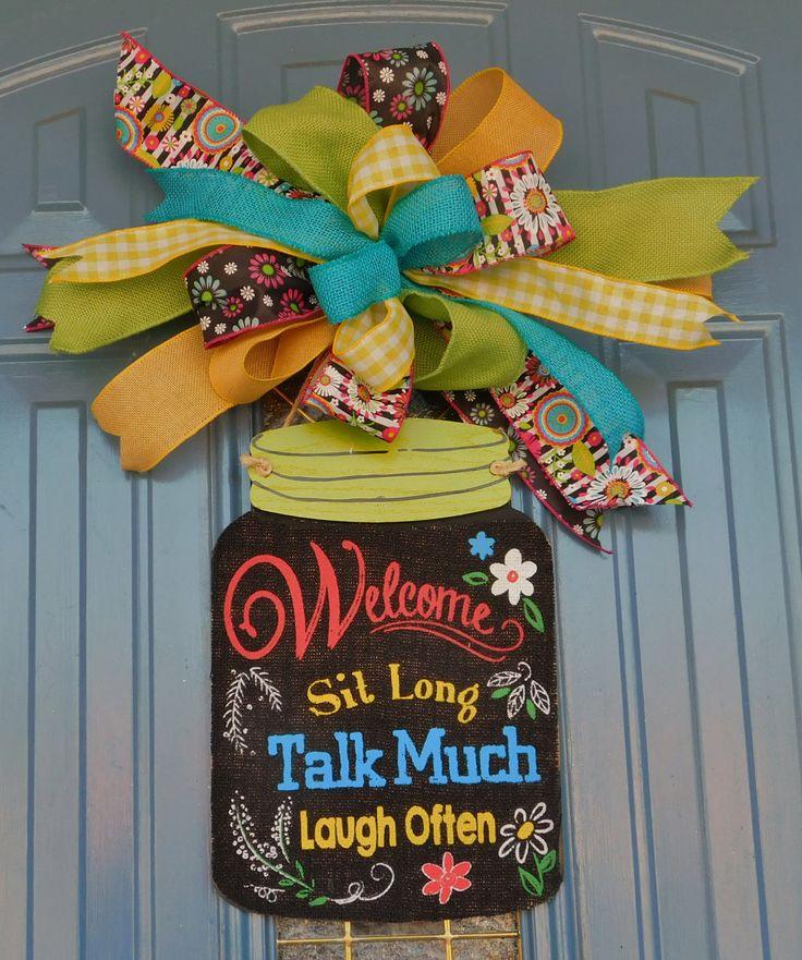 """Mason Jar Wooden Sign with Burlap, """"Welcome, Sit Long, Talk Much, Laugh Often,"""" Front Door Hanger, Front Door Wreath, Porch Door Hanger by TwoRoadsDivergedShop on Etsy"""