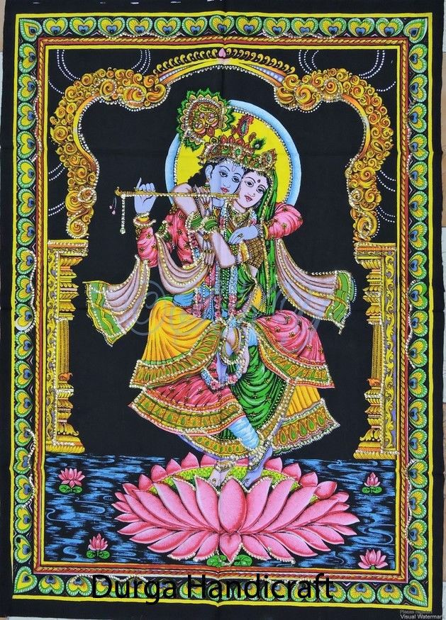 Indian Home,Temple Decor Wall Hanging Radha Krishna & Cow Sequin Work God Poster #Handmade #Traditional #WallHangingYogaMatTapestryPoster