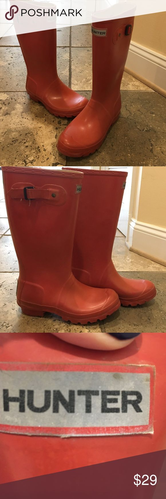 """Classic """"young"""" red hunter boots Shorter boots fit for kids (or petite adults). In great wearable condition! But, there is one small paint stain (you can see in the photo) and one of the buckles is not in tact (also in photo) which is why they're extra discounted!:) Hunter Boots Shoes Winter & Rain Boots"""
