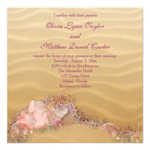 Sand Beach Seashells Beach Wedding Invitation