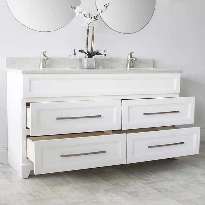 Vango 60 In Hampton Collection White Vanity Quartz Countertop