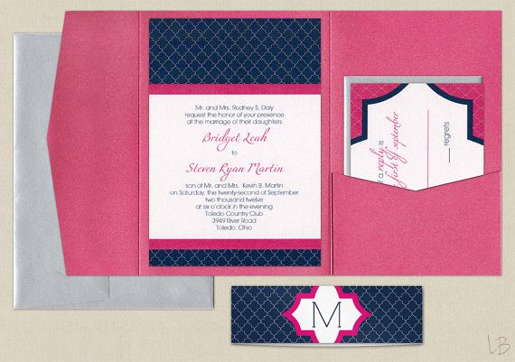 Pink And Navy Pocket Wedding Invitation Sample Set Fuchsia And