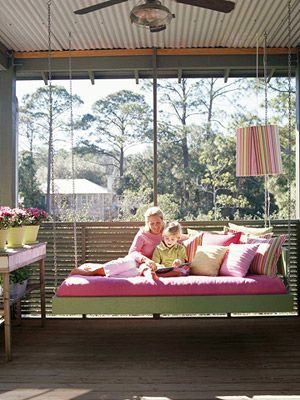 Want this hanging porch bed!: Porch Swings, Idea, Swing Beds, Outdoor, Porches, Garden