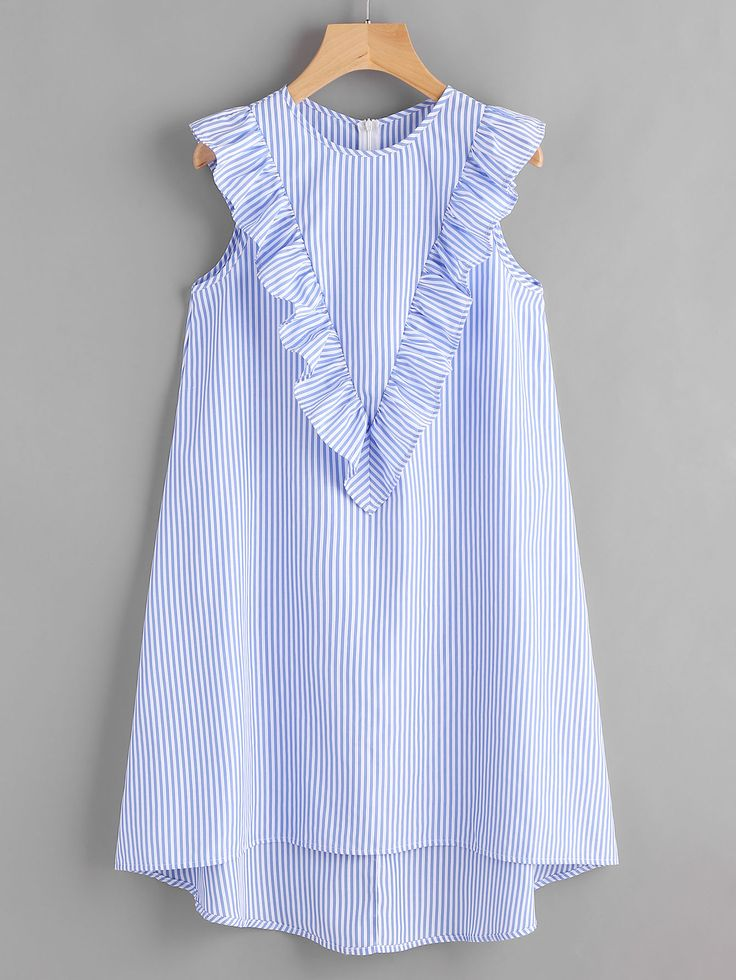 Shop Zip Back Ruffle Yoke Striped Dress online. SheIn offers Zip Back Ruffle Yoke Striped Dress & more to fit your fashionable needs.