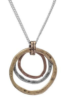Handmade Circles Pendant Necklace Women Fashion Sterling Silver And Brass Chain