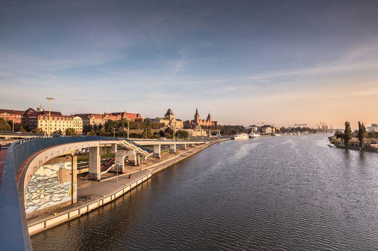Szczecin - Szczecin, Poland sunset over the river Odra watching towards Wały Chrobrego