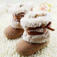 Wish   Newborn Baby Girls Bowknot Snow Boots Soft Crib Shoes Toddler Warm Fleece Boots