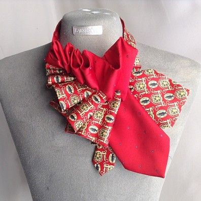 Ruffled Neck tie Scarf Hand Crafted by She Dazzle on Opensky