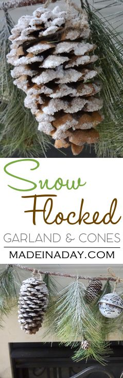 Snow Covered Garland Holiday Decor, DIY flocked pinecones and garland with epsom salts, holiday decor, Christmas, woodland via @madeinaday