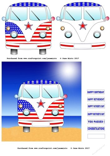 "#USA #AMERICA #AMERICAN #CAMPERVAN #COMBI #KOMBI #BUS A camper van painted up with the American flag.   The main image is a 6x6"" print.    It has one full van to cut out, the next part has the second layer to cut out, attach to the first with sticky foam pads to make it 3D  Comes with a choice of 7 reg plates to attach over the blank reg space on the van.    HAPPY BIRTHDAY, HAPPY FATHER'S DAY, HAPPY RETIREMENT, HAPPY MOTHER'S DAY, YOU PASSED! CONGRATULATIONS."