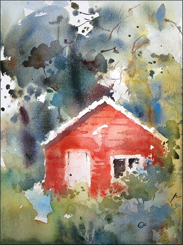 Watercolors by Maria Stezhko (Акварели Марии Стежко)  Red Cabin