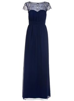 *Quiz Navy Embroidered Maxi Dress