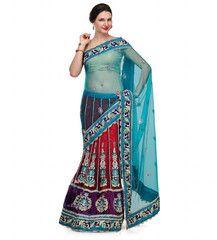 Turquoise Net Lehenga Style Saree | Fabroop USA | $65.00 |