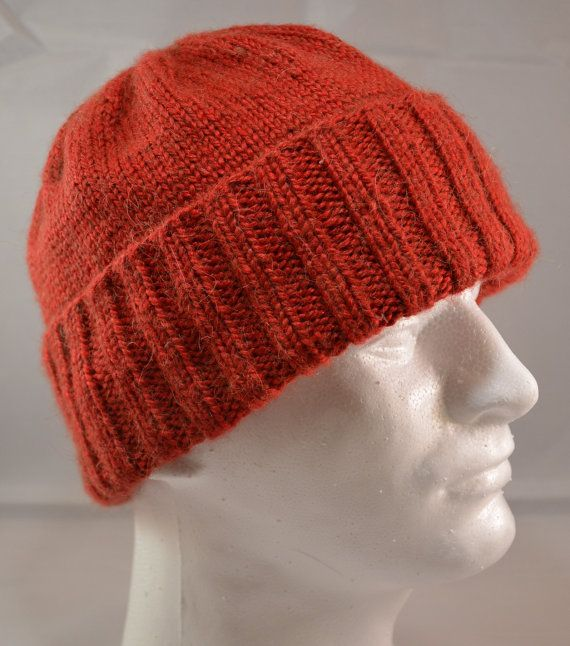 Hand Knit Hat Classic Stocking Cap Red Knit by ScandinavianCottage ... 06efbdfe641