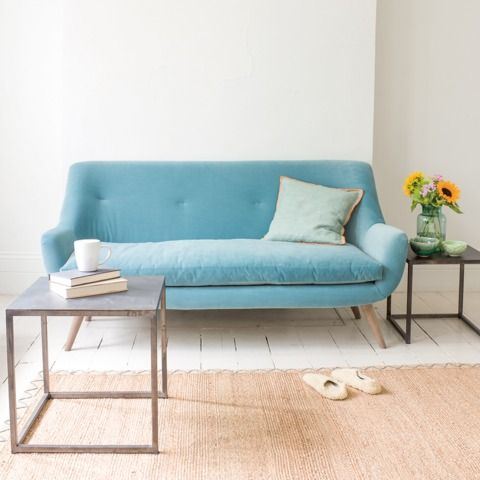 BERLIN: This ridiculously comfy sofa was inspired by a groovy vintage piece Charlie bought years back. Its solid oak legs give it a retro feel and we absolutely love every bit of it. Looks particularly good in small spaces as it's quite cute. #sofa #midcentury