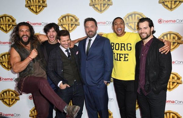 Ezra Miller Photos Photos - (L-R) Actors Jason Mamoa, Ezra Miller, Ben Aflleck, Ray Fisher and Henry Cavill arrive at CinemaCon 2017, Warner Bros Pictures Invites You to ?The Big Picture?, at The Colosseum at Caesars Palace during CinemaCon on March 29, 2017 in Las Vegas, Nevada. / AFP PHOTO / ANGELA WEISS - CinemaCon 2017 - Warner Bros. Pictures Presentation