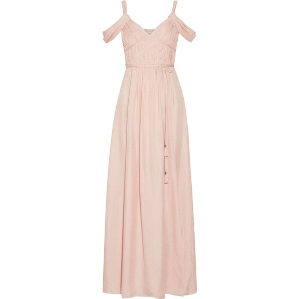 Rachel Zoe Coleen off-the-shoulder ruched silk maxi dress ($805) ❤ liked on Polyvore featuring dresses, gowns, long dresses, persephone, pastel pink, long sleeve dress, pink ball gown, tie-dye maxi dresses, silk wrap dress and wrap maxi dress