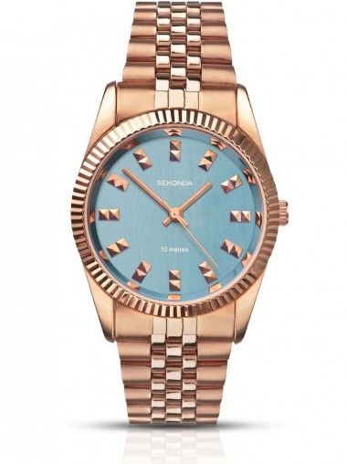 Sekonda Ladies Gold Plated Bracelet with Blue Dial Watch 2090