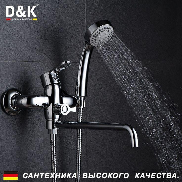 Купить D&K DA1353301 Высокое Качество Ванна Кран, Однорычажный смеситель для ванны с поворотным и удлинительным изливом, Керамический картридж 35мм, эксцентрик, душевой шланг, хромированная поверхность, Медные материалыи другие товары категории Смесители для ванной и душав магазине D&K Official StoreнаAliExpress. кран опрыскиватель и кран одной