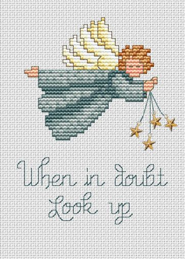 Angel Post Stitches cross stitch chart with charm Sue Hillis Designs