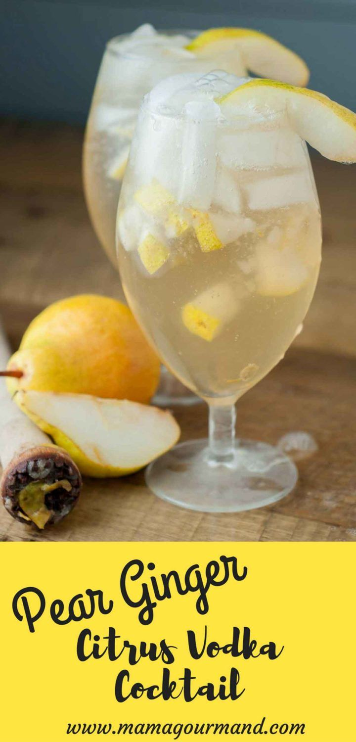 Pear Ginger Vodka Cocktail is a perfect combination of citrus vodka, muddled pears, ginger simple syrup, and sparkling ginger ale. http://www.mamagourmand.com