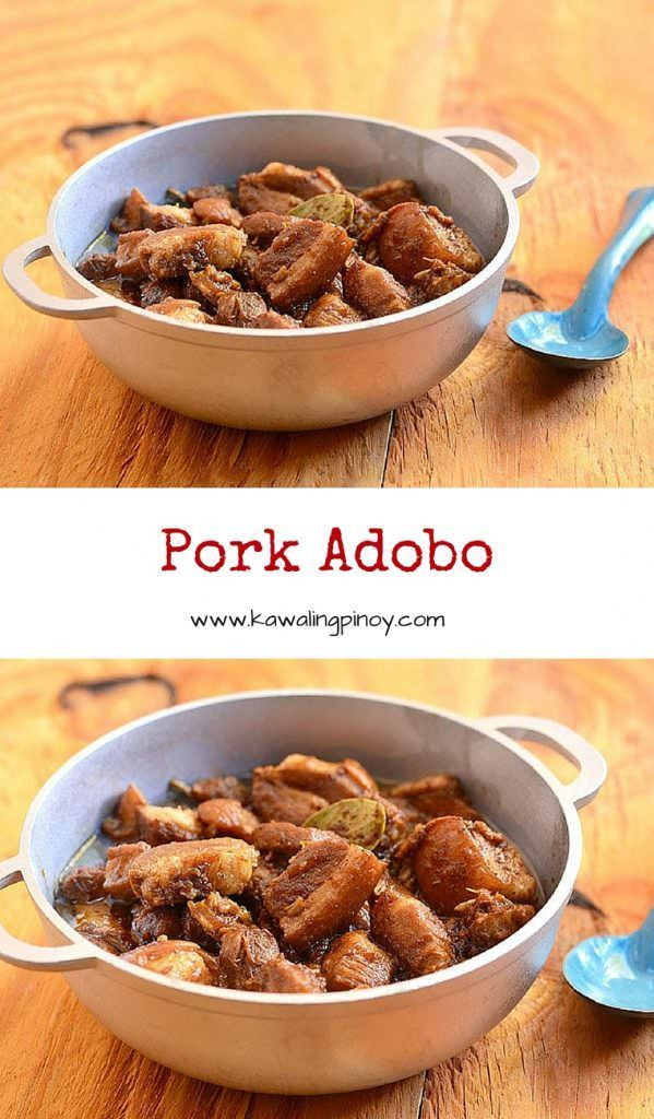Pork Adobo is a popular Filipino stew made with pork cubes simmered in vinegar, soy sauce, garlic and onions