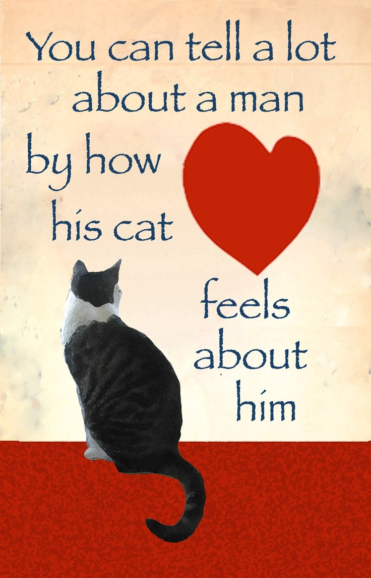 Man Card - Cat Card for Men- Cats, Hearts and Men. $5.00, via Etsy.