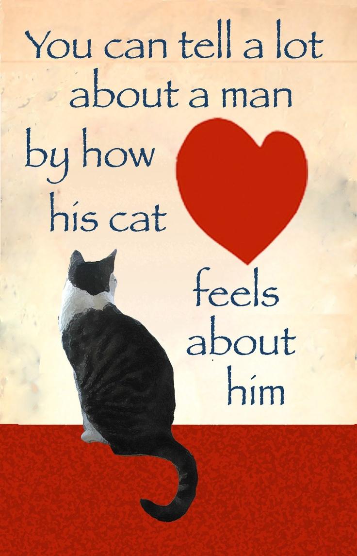 Man Card - Cat Card for Men- Cats, Hearts and Men. $5.00, via Etsy.
