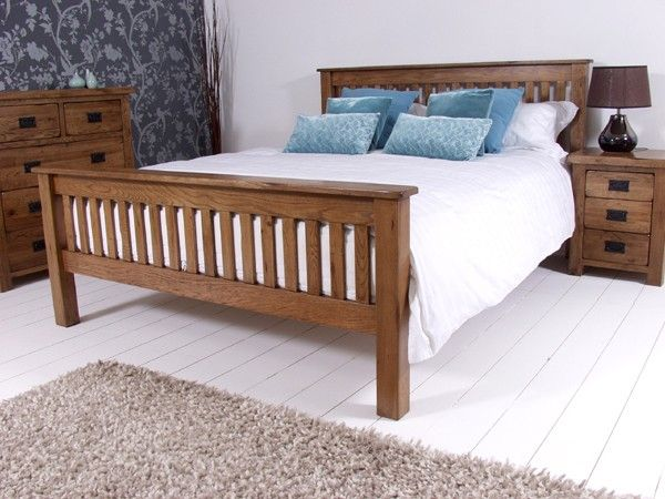 Rustic Oak Wooden Bed Frame - HFE - Dark Wood - Wooden Beds - Beds