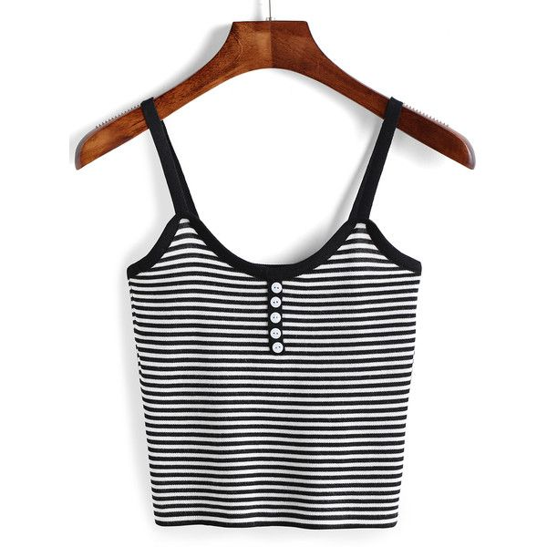 Spaghetti Strap Striped Cami Top With Buttons ($12) ❤ liked on Polyvore featuring tops, crop top, black and white, cami tank, knit vest, crop tank top and black and white striped top