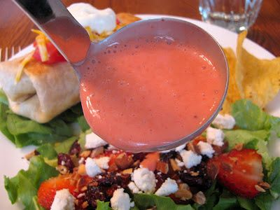 Strawberry Fields Salad Dressing  1 c strawberries, 2 Tbsp vinegar, 2 Tbsp brown sugar, 1/2 c olive oil, 1/2 tsp. lemon juice, salt, pepper
