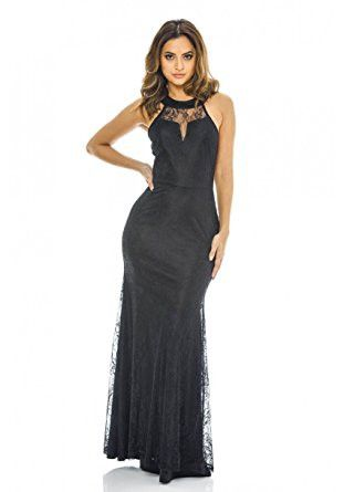 Black Sleeveless Halter Neck Lace Maxi Dress