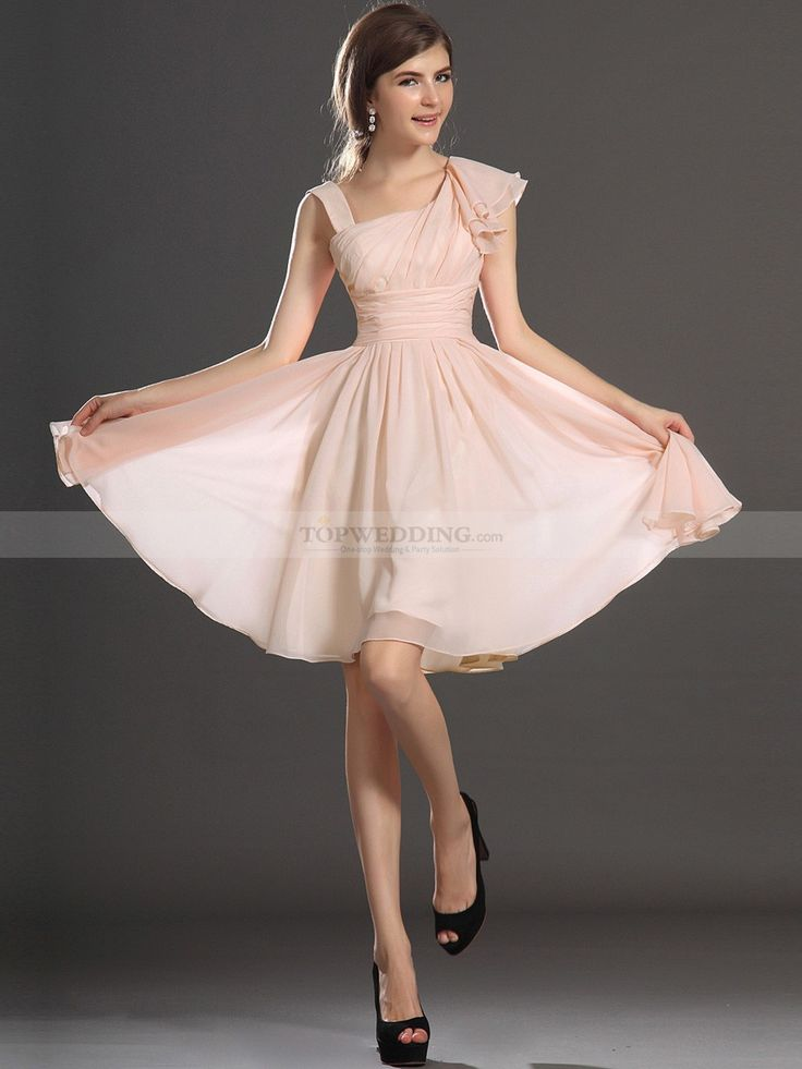 Asymmetric Neckline Chiffon A Line Homecoming Dress