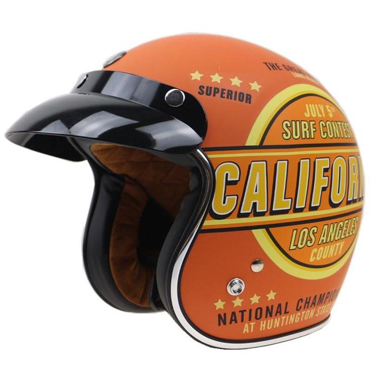 California Design Motorcycle Helmet Open Face Retro