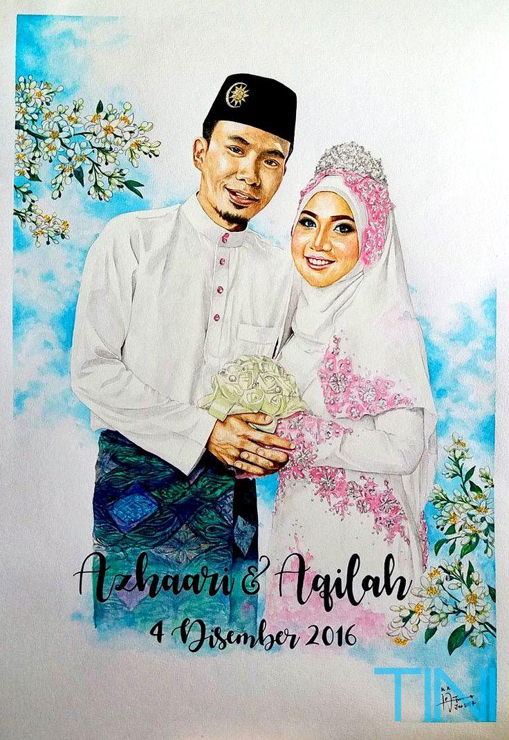 wedding watercolor portrait instagram @kartiniabdhaQ