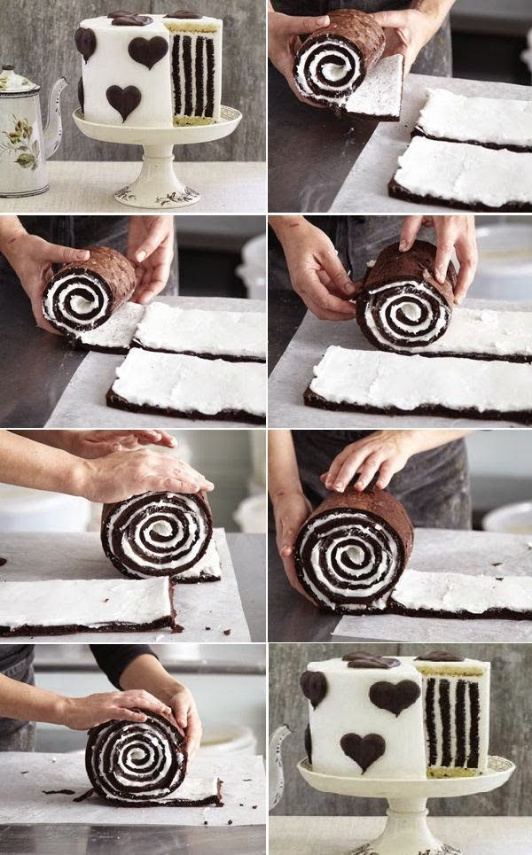 Gorgeous Chocolate Stripe Cake. Really want to try and make this.