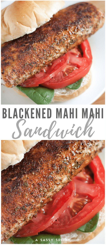Fresh, juicy, smokey, spicy, blackened mahi mahi sandwich (aka dolphin) on a kaiser roll with lettuce and tomato. Simplicity is key. via @holacroqueta