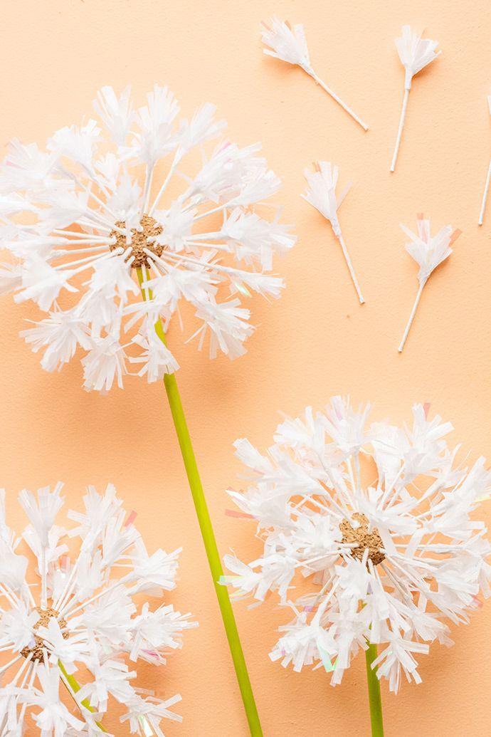 Diy Dandelion Cake Toppers Paper Flowers Tissue Paper Flowers