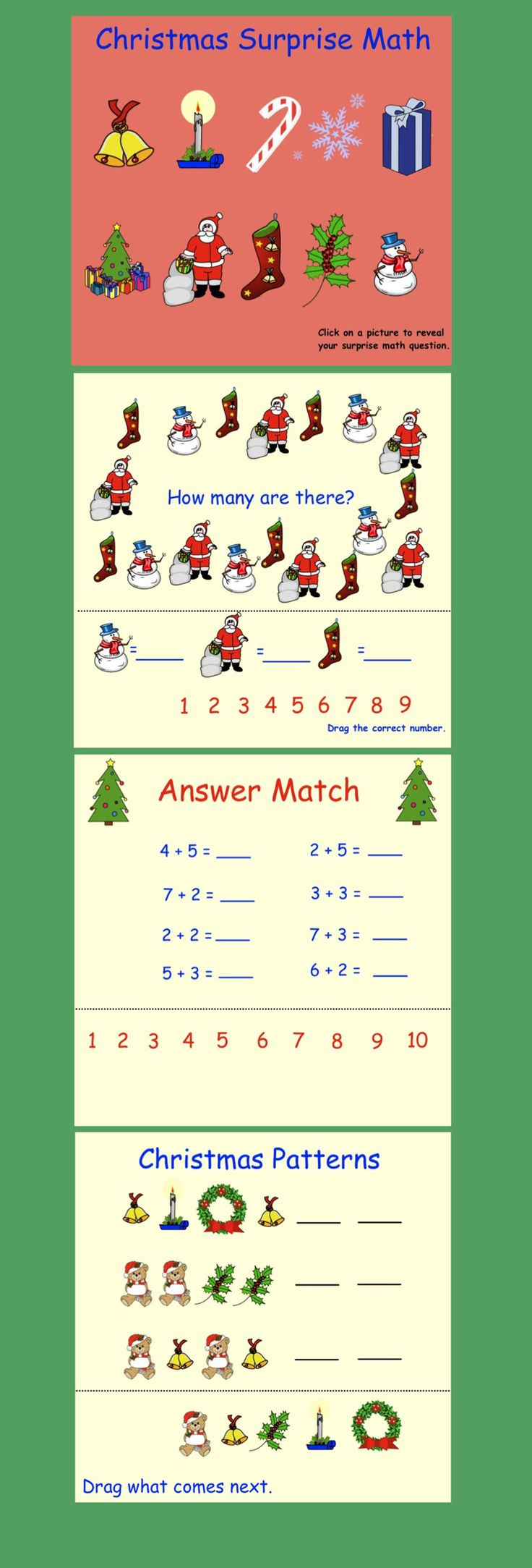 Smartboard Interactive Surprise Math K-1 11 pages $