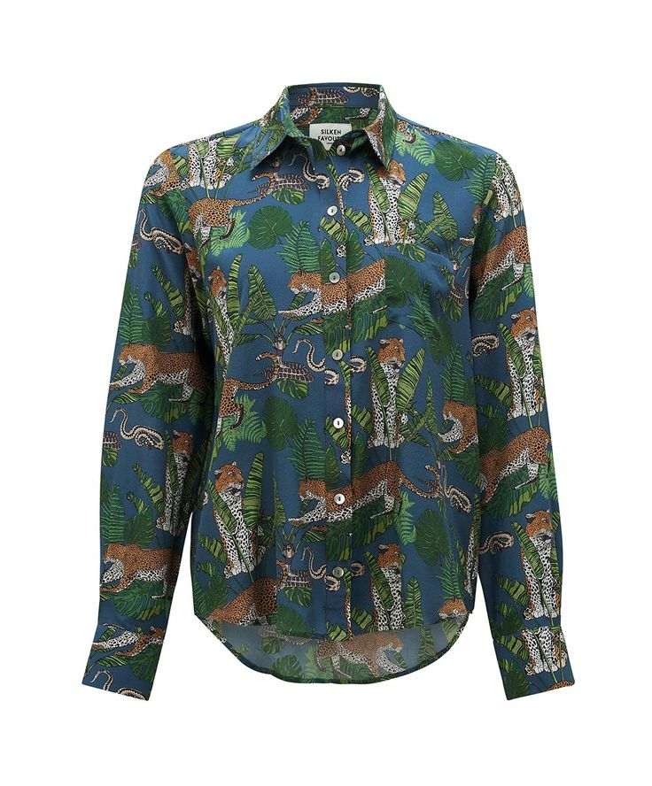 Leopard Jungle snake midnight blue silk shirt  100% silk shirt  mother of pearl buttons  Made in Britain  Dry Clean Only